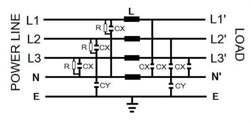 日规-(单π回路) ( 4p-sa ) 三相四线式电源滤波器
