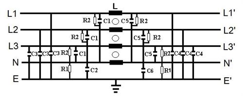 欧规-(单π回路) (4p) 三相四线式电源滤波器
